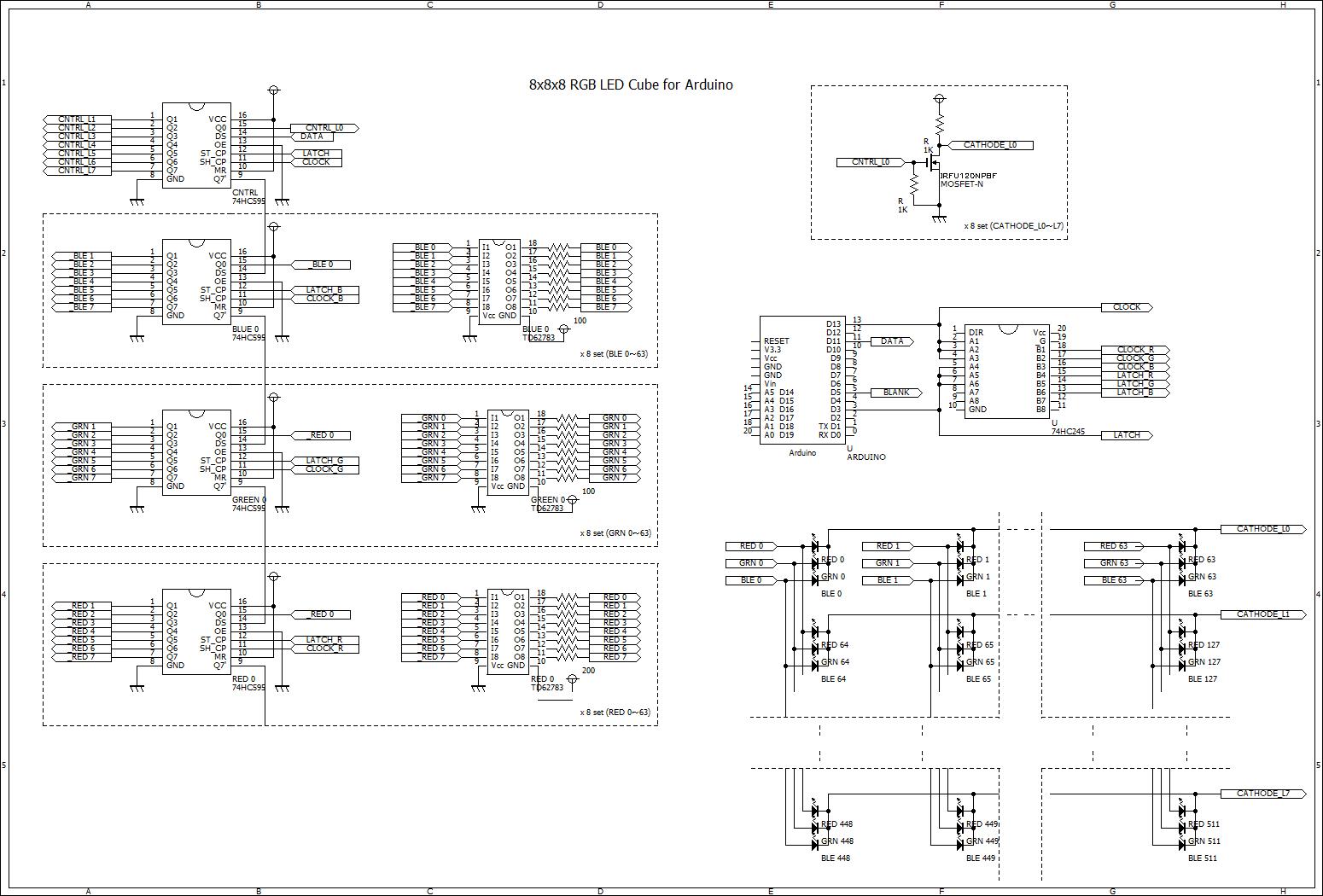 8x8x8 Rgb Led Cube Mics Garage Circuit Diagram Of 8x8x8rgb 2
